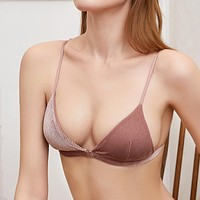 Women's sexy corduroy sling front buckle without steel ring underwear
