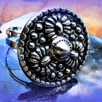 Button Ring, Vintage button, Direct Checkout, Adjustable, Ready to Ship