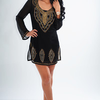 Look At Me Now Dress: Black/Gold | Hope's