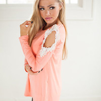 Lustrous Top with Open Crochet Shoulders in Coral