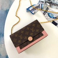 Louis Vuitton LV Women Fashion Shopping Leather Metal Chain Crossbody Satchel Shoulder Bag
