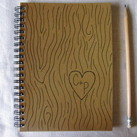 Bark Print with Personalized Initials- 5 x 7 journal