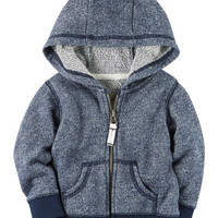 French Terry Zip-Front Hoodie