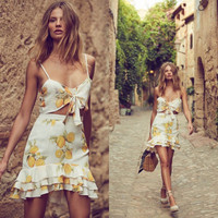Fashion Bow Lemon Print Sleeveless Small Vest Short Skirt Set Two-Piece