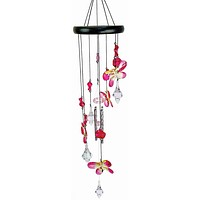 Pink Butterfly Cascading Wind Chime
