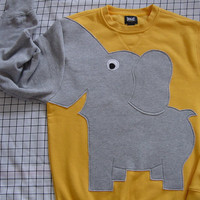 LIMITED EDITION Elephant Trunk sleeve sweatshirt sweater jumper mens M Bright Yellow