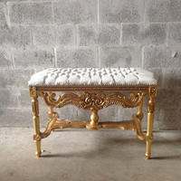 Tufted Gold Bench French Louis XVI Coffee Table Gold Leaf Gild White Leather New Fabric Nail Heads Heavy Carvings Baroque Rococo Refinish