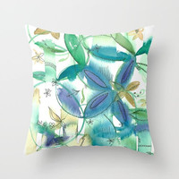 Boho Bamboo Floral Throw Pillow, watercolor flowers, blue, green, gold, leafy
