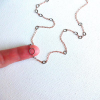 14k Rose Gold Fill and 925 Sterling Silver Oval Delicate Strand Layering Necklace - Unique Modern Deconstructed Rose Gold Strand Necklace