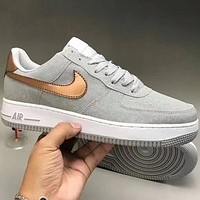 Samplefine2 Nike & LV  super soft leather surface splicing Air Force sports shoes F-CQ-YDX Grey+gold hook
