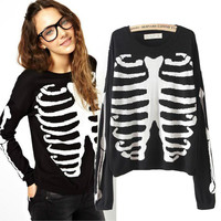 Skull Print Long Sleeve Knitted Sweater