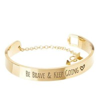 'Be Brave & Keep Going' Engraved Bangle