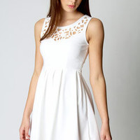 Esther Laser Cut Detail Fit And Flare Dress