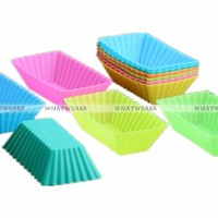 6x Soft Silicone Rectangle Cake Muffin Cupcake Liner Chocolate Bake Cup Mold (random color) = 5658088513