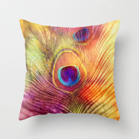 peacock feather Throw Pillow by Sylvia Cook Photography | Society6