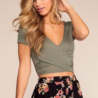 Here We Go Tie-Front Crop Top - Olive