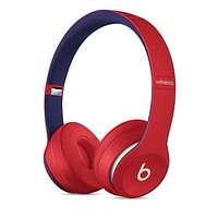 Red(blue interanl) Beats Solo 3 Wireless Classic Cool Magic Sound Bluetooth Wireless Hands Headset MP3 Music Headphone with Microphone Line-in Socket TF Card Slot