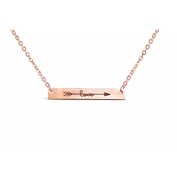 Rose Gold Cubic Love Arrow Minimalist Bar Necklace