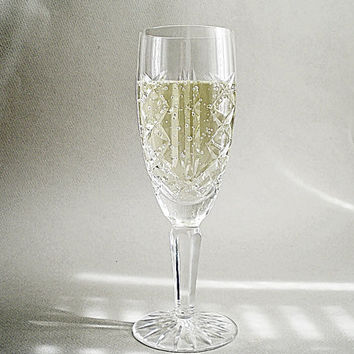 Chamagne Glass, Vintage Waterford Crystal Stemware, Toasting Glasses, Wedding Flutes
