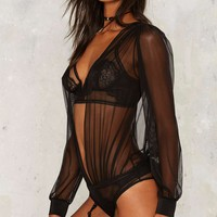 Sheer Me Out Plunging Bodysuit