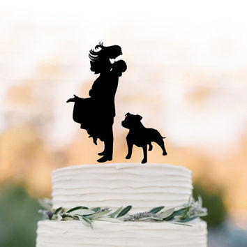 bride and groom silhouette Wedding Cake topper with dog, wedding cake decor people