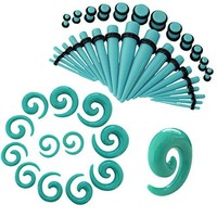 BodyJ4You Gauges Kit Turquoise Acrylic Tapers Plugs Spirals 14G-00G Ear Stretching Body Jewelry 54 Pieces