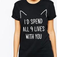 Adolescent Clothing Boyfriend T-Shirt With Valentines Cat Print