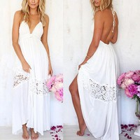 2017 Summer White Lace Long Maxi Dress Women Backless Evening Party Dress Beach Dresses Sundress