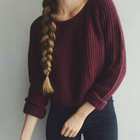 Long Sleeve Knitted Short Sweater - Wine Red