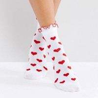 Lazy Oaf Red Heart Socks at asos.com