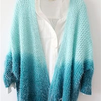 New autumn green gradient knitted cardigan sweater coat