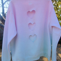Vertical Triple Heart Cut-out Pastel Green and Pink Ombre Lightly Fleece-Lined Sweatshirt Valentine's Day