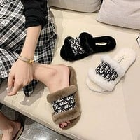 Dior CD plush slippers women new fashion outer wear plush slippers all-match non-slip flip-flops-2
