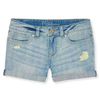 Kids' Light Wash Destroyed Denim Shorty Shorts - PS From Aeropostale