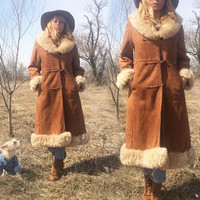 Vintage 1970's PENNY LANE Caramel Brown Suede Shearling Almost Famous Coat With Braided Closure || Hippie Boho Princess || Size Medium