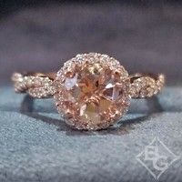 "Artcarved ""Gianna"" Morganite Center Twist Shank Diamond Engagement Ring"