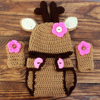 Crochet Infant Baby Girl Deer Set - Hat, Diaper Cover, Leg Warmers - Size 0-3 Months