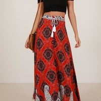 Red Tribal Floral Pattern Draped Drawstring Side Slit High Waisted Bohemian Long Skirt