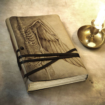 Huge Leather Journal Hand Painted Vintage Style Old Paper Pages, Personalized Custom Quote - Art Leather Book, Notebook, Anatomy of an Angel