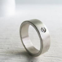 men's wedding band - palladium sterling silver and Moissanite engagment ring - his and hers - his and his - hers and hers