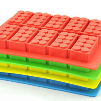Pro Base Home Kitchen Party Use 10-cavities Adorable Cute Building Block Toy Bricks Shape Ice/Cake/Chocolate/Sugar Decorating Silicone Mini Cube Craft Fondant Mold Tray(Colour by Random)
