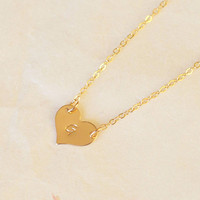 Heart Layered Necklaces,Custom initial necklace 14k Gold Filled,name plate necklace,gift for her