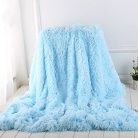 Shaggy Fuzzy Plush Faux Fur Fleece Sherpa Throw Blanket Plaid Velvet Warm Elegant Soft Fluffy Bed Sofa Manta Para Sofa Bedspread
