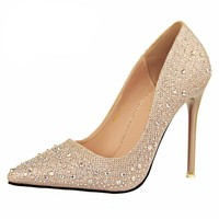 2016 New Women Silver Rhinestone Wedding Shoes
