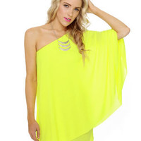 Sexy Neon Dress - One Shoulder Dress - Yellow Dress - $59.00