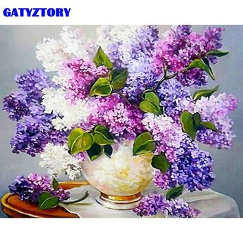 GATYZTORY Frameless Picture Purple Flower DIY Painting By Numbers Modern Home Wall Art Canvas Painting Hand painted 40x50cm Arts