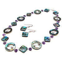 Stunnning abalone shell and amethyst necklace set - abalone, amethyst and crystal beaded necklace - beach necklace by Sparkle City Jewelry