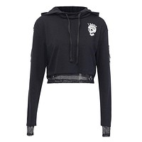Gothic Style Women Long-sleeve Mesh Stitching Design Skull Print Cropped Hoodies