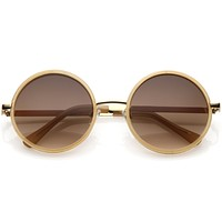 Women's Large Round Metal Arm Retro Sunglasses C022