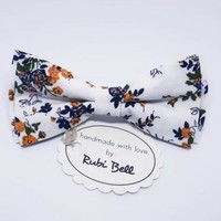 White Floral Bow Tie - White Bow Tie With Blue and Orange Flowers - Mens Bow Tie - Groomsman Bow Tie - Wedding Tie - Pocket Square